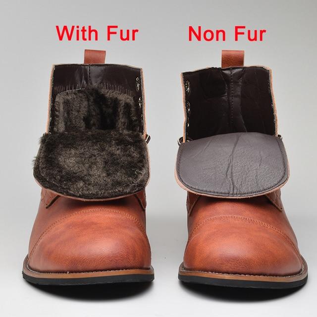 Masorini Men Pu Leather Lace-up  Men Shoes High Quality Men Vintage British Military Boots Autumn Winter Plus Size BRM-060 1