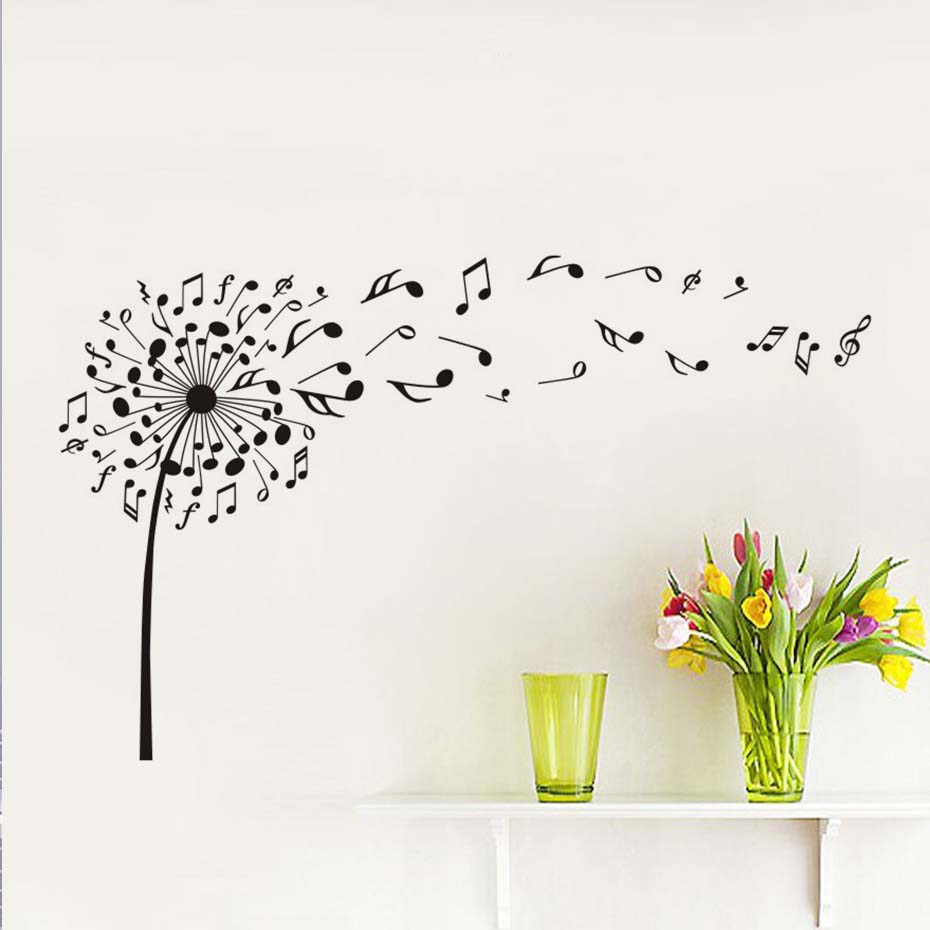 Creative dandelion music notes vinyl diy wall stickers for kids room nursery dream of flying posters decals wall art decoration