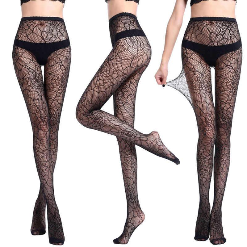 01d548da59 ... Fashion 1 Pair Women Net Pantyhose Sexy Fishnet Black Stockings  Transparent Printing Pattern Hollow Out Tights ...