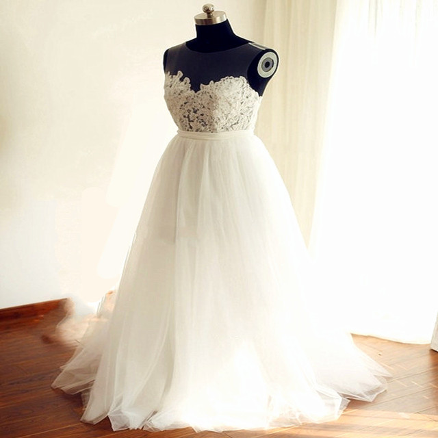 Dreamy Sheer Neck Beach Wedding Dress 2017 With Stunning Soft Tulle ...