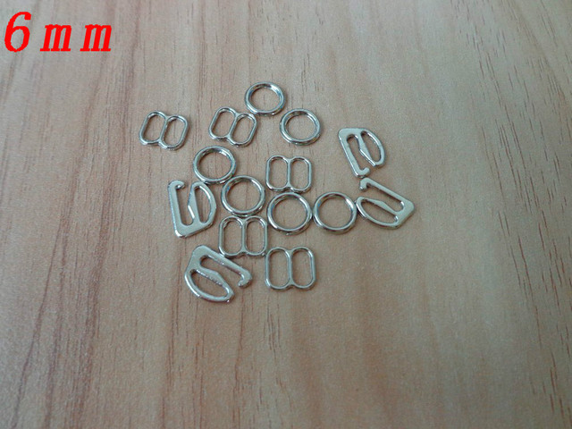 6mm 100 Sets Silver Plated Lingerie Hardware Sewing Clips Clasp Hooks Bra Strap Metal Hardware Rings Dropshipping