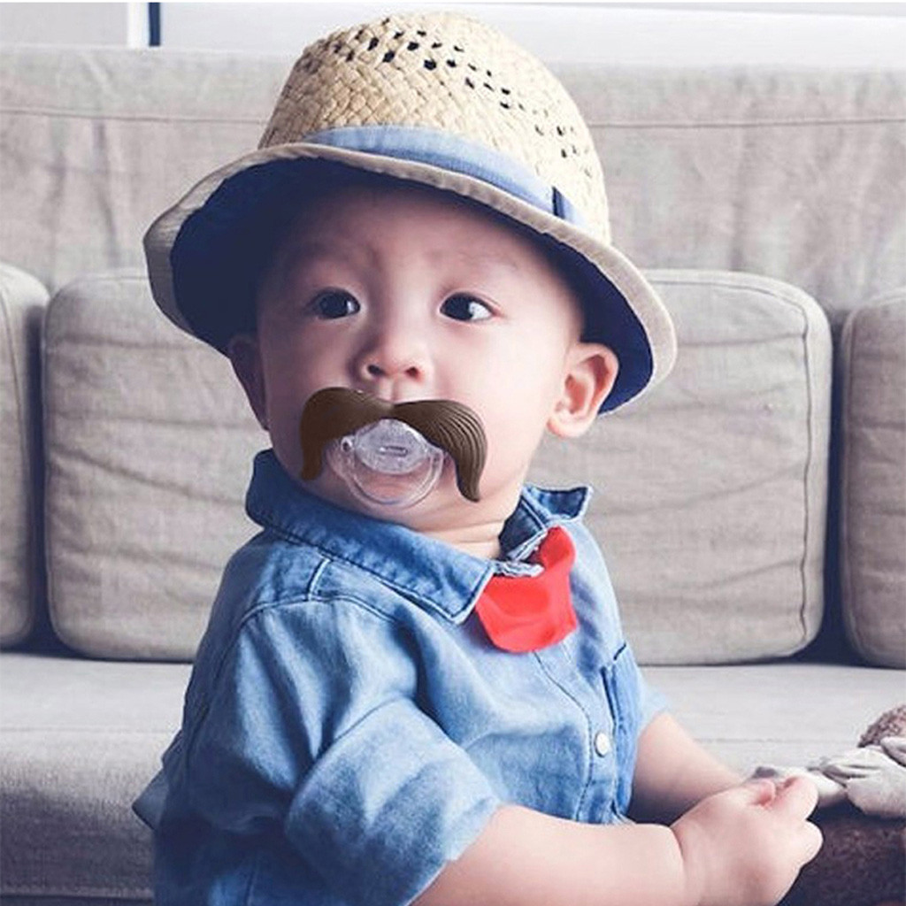 Infant Toddler Baby Pacifier Newborn Boy Girl Kids Cartoon Mustache Style Soft Silica Gel Material Pacifiers Fit For 0-24M Baby