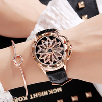 8 Colors Fashion Women Rotation Dress Watch Top Quality Female Stainless Steel Quartz Watches Lady Leather