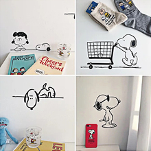Cute cartoon wall stickers Animal Dog Snoopy Decorative metope Tables and chairs School dormitory decorative wallpaper