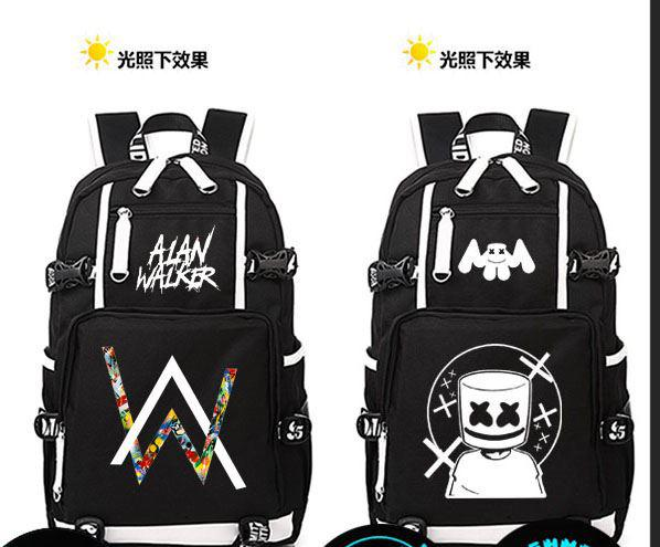 2018 new canvas luminous alan walker backpack women schoolbag