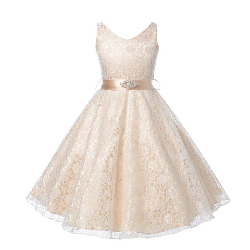 Girls Hollow Lace Flower Dresses bf5fdc9cb4bd