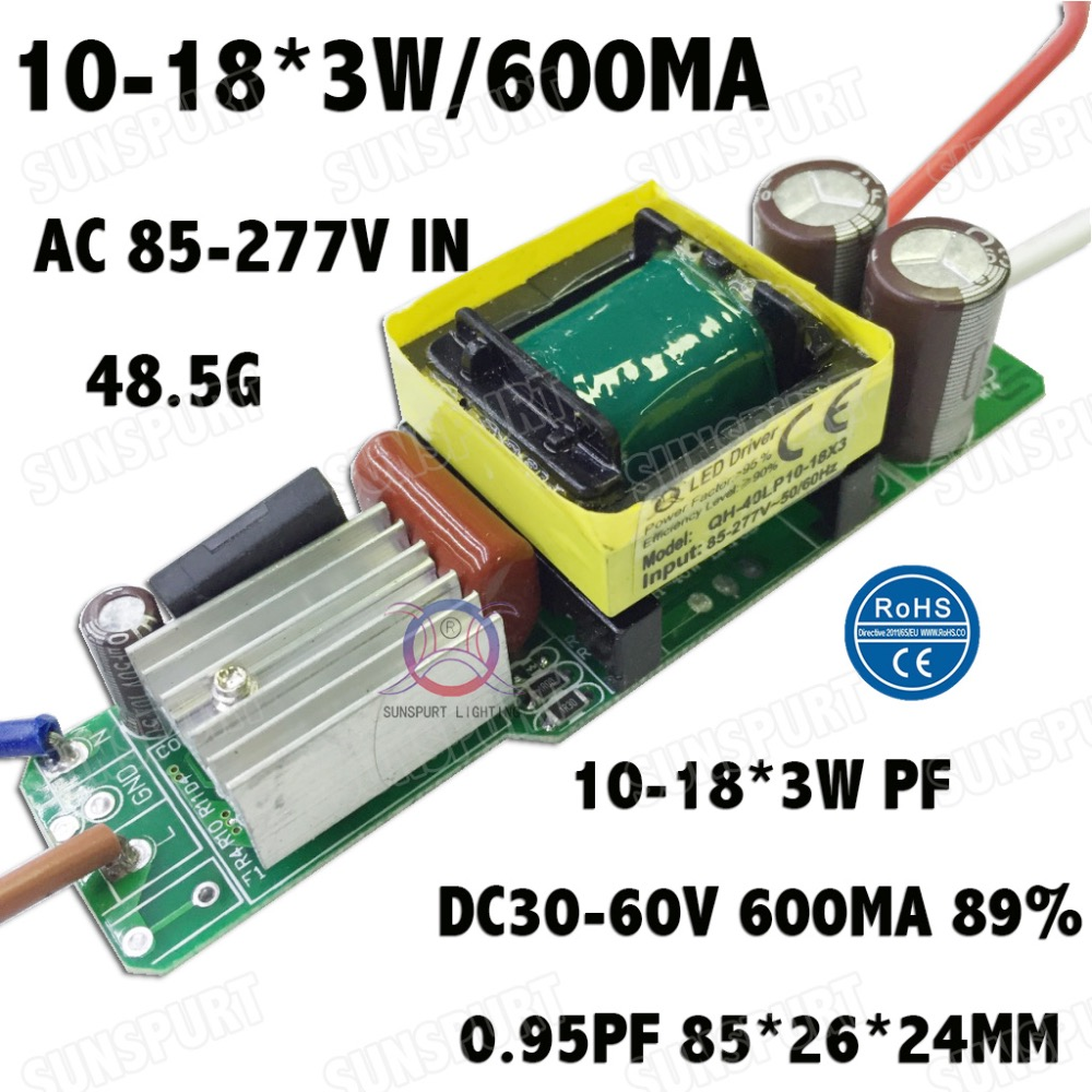 5-100Pieces High PF Isolation 36W AC85-277V LED Driver 10-18x3W 600mA DC30-60V LEDPower Constant Current LED Lamp Free Shipping