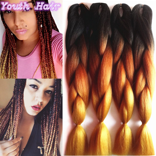 1-10 pcs Crochet Braids Hair Black Grey Brown Ombre Kanekalon Braiding Hair synthetic Jumbo Box Braids Braiding Hair Extensions