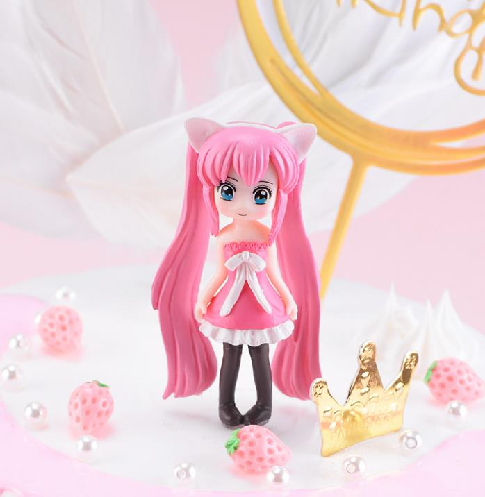 1 Pc Kawaii Cartoon Long Hair Beautiful Girl Model Action Figure Toy DIY Resin Craft Ornament Doll Toy-2