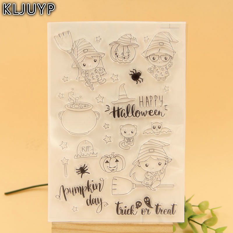 KLJUYP Happy Halloween Transparent Clear Silicone Stamp/Seal for DIY scrapbooking/photo album Decorative clear stamp sheets kljuyp cheese transparent clear silicone stamp seal for diy scrapbooking photo album decorative clear stamp sheets