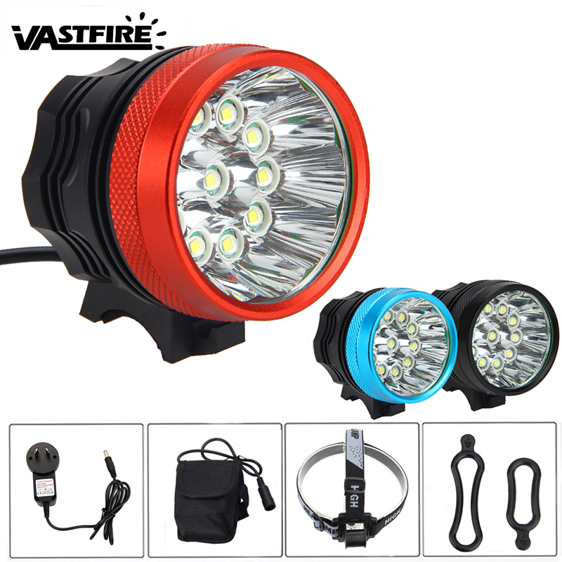 Super Bright LED Bike Headlight 12000LM 11 * XML T6 LED Head Torch Front Bicycle Light Bike Lamp with Rechargeable Battery Pack