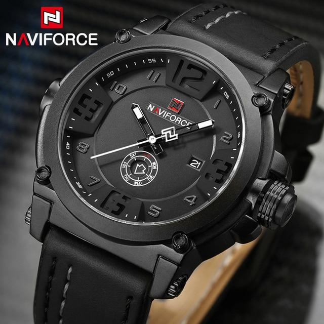 Naviforce New Sport Watch Fashion Mens Watches Militray Quartz Men Watch Leather Waterproof Male Wristwatches Relogio Masculino