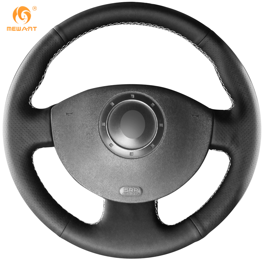 MEWANT Black Artificial Leather Car Steering Wheel Cover for Renault Megane 2 2003-2008 Kangoo 2008-2012 Scenic 2 2003-2009