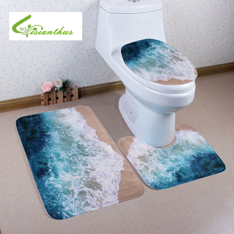 3pcs Set Bath Mats New Ocean Beach