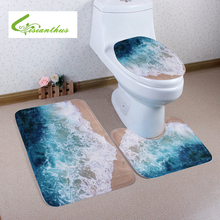3pcs/set Bath Mats New Ocean Beach Style Bathroom Set Carpets Absorbent Non-Slip Pedestal Rug Lid Toilet Cover Bath Mat Rugs