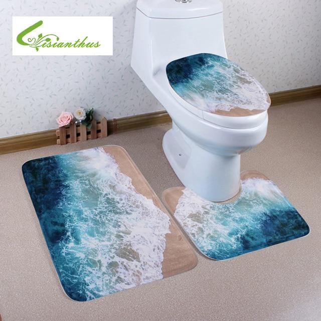 3pcs Set Bath Mats New Ocean Beach Style Bathroom Carpets Absorbent Non Slip