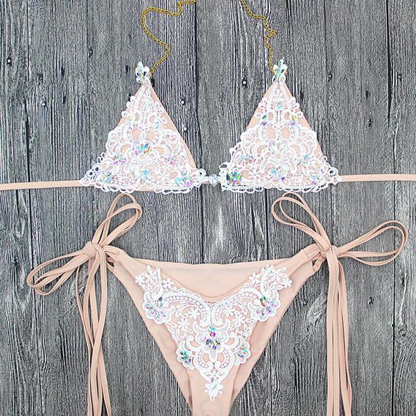 Kmnovo 2018 Crystal Bikinis Women Sexy Swimwear Swimsuit Bandage Bathing Suit Women Bikini Set Hot Beach wear 2