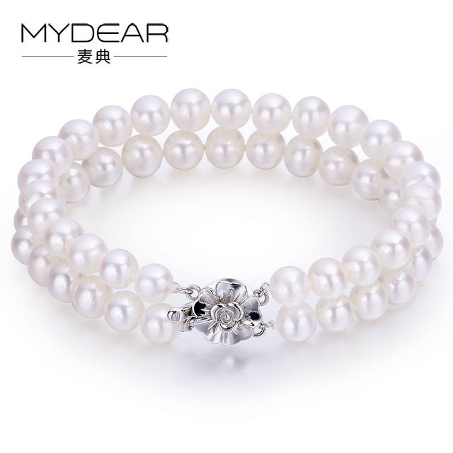 MYDEAR Fine Pearl Jewelry Women Popular 925 Silver Brcelet Double Layer Freshwater Pearl Bracelets 6-7mm,White,High Luster Pearl