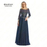 Real Photos Beading Handmade Crystal Three Quarter Chiffon Long Prom Evening Dress Formal A Line Sashes