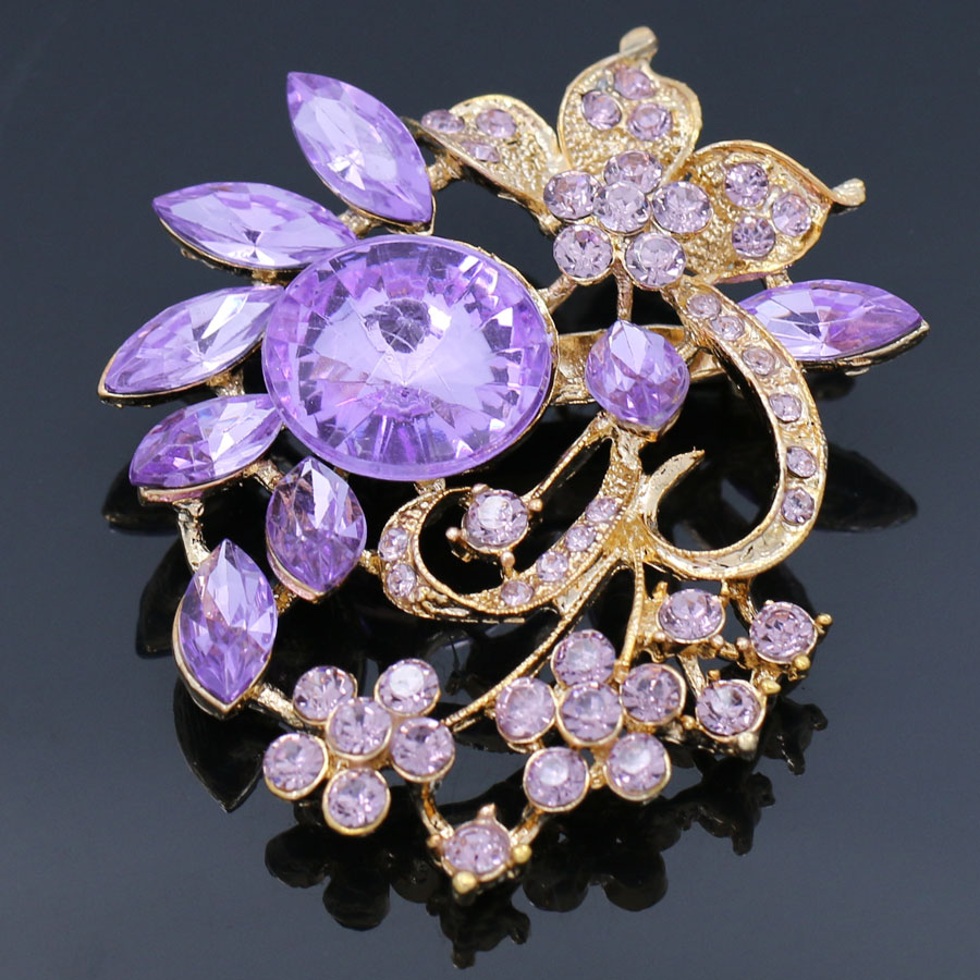 swarovski costume brooch fruit fantasyard amethyst purple pin crystal violet en grape