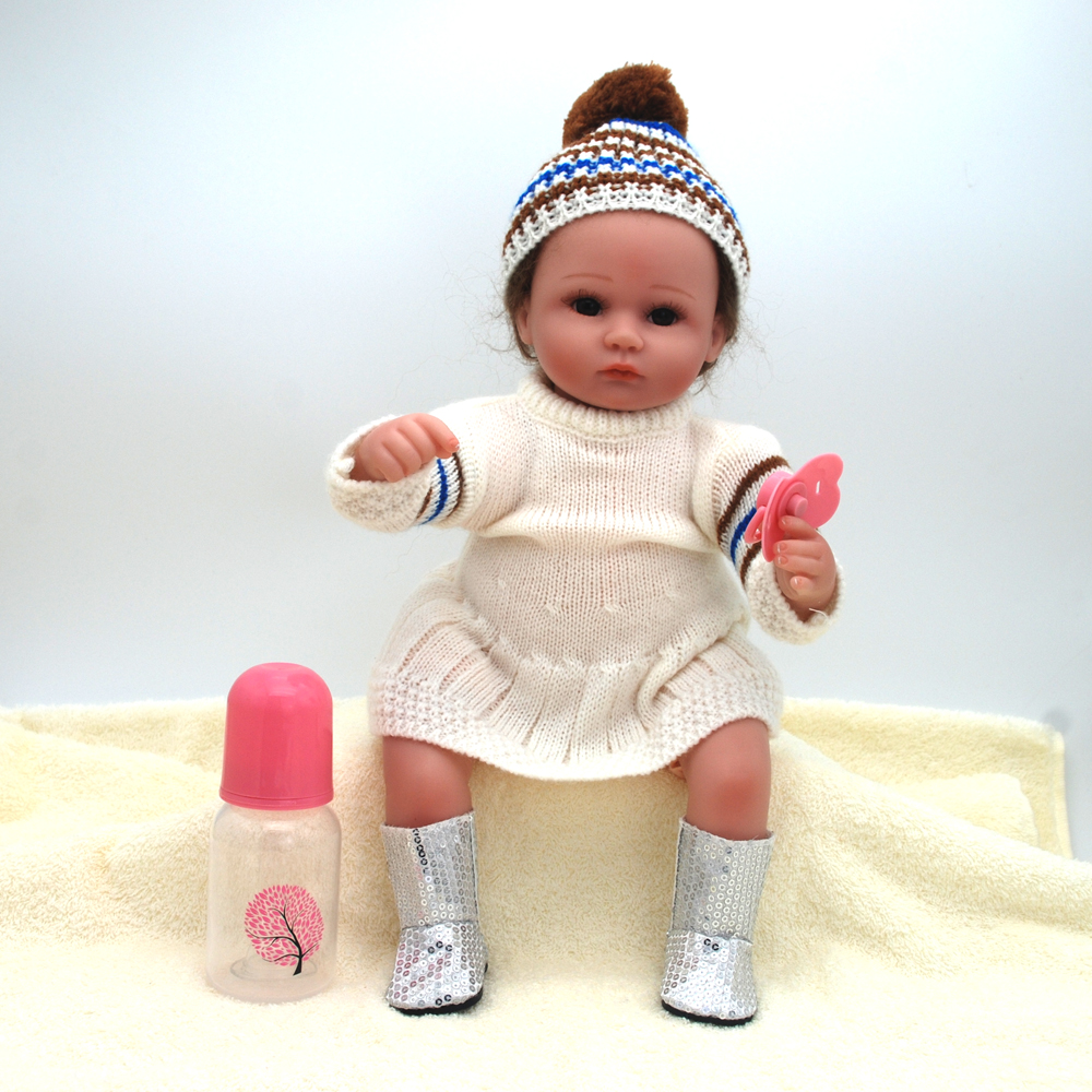 NicoSeeWonder 16 Inch Boneca Bebe Reborn Baby Dolls 42 cm Lifelike Cotton Body Reborn Toddler With White Dress Clothes For Gift short curl hair lifelike reborn toddler dolls with 20inch baby doll clothes hot welcome lifelike baby dolls for children as gift