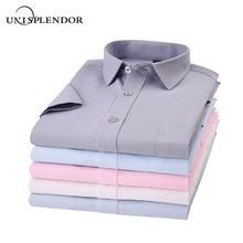 Лето, мужская рубашка с коротким рукавом, на пуговицах, с воротником, облегающая, дышащая, удобная, модная, деловая, мужская, Повседневная рубашка, YN10548