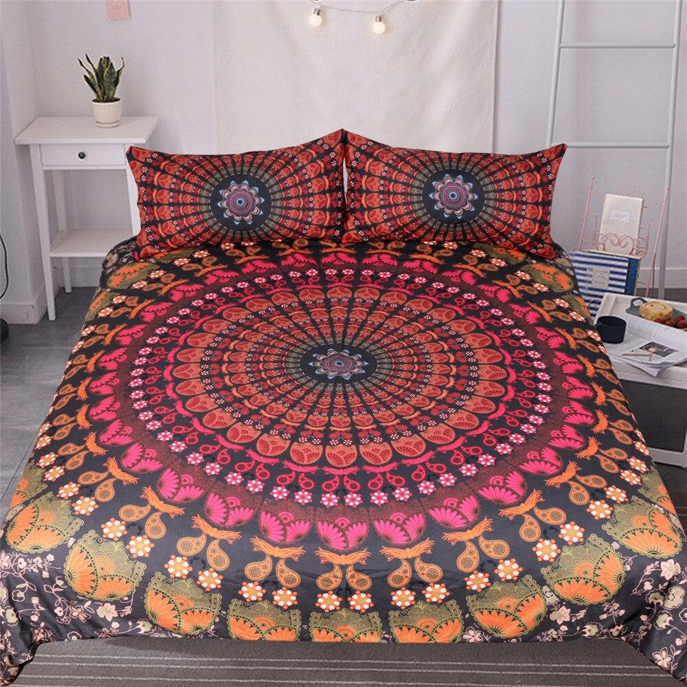 Bohémien 3d couette ensembles de literie Mandala housse de couette ensemble hiver drap taie d'oreiller reine roi taille literie couvre-lit