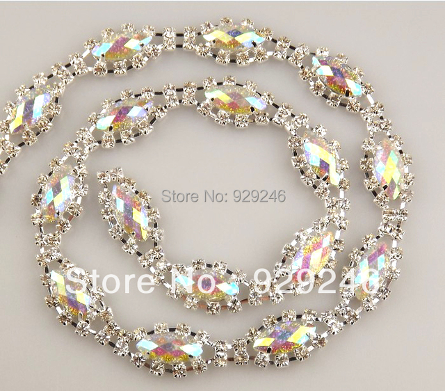 c713afe7d free shipping 90cm pack Mariquesa glitter ab color resin rhinestone metal  chain sewing for sandals bags shoes crafts decoration