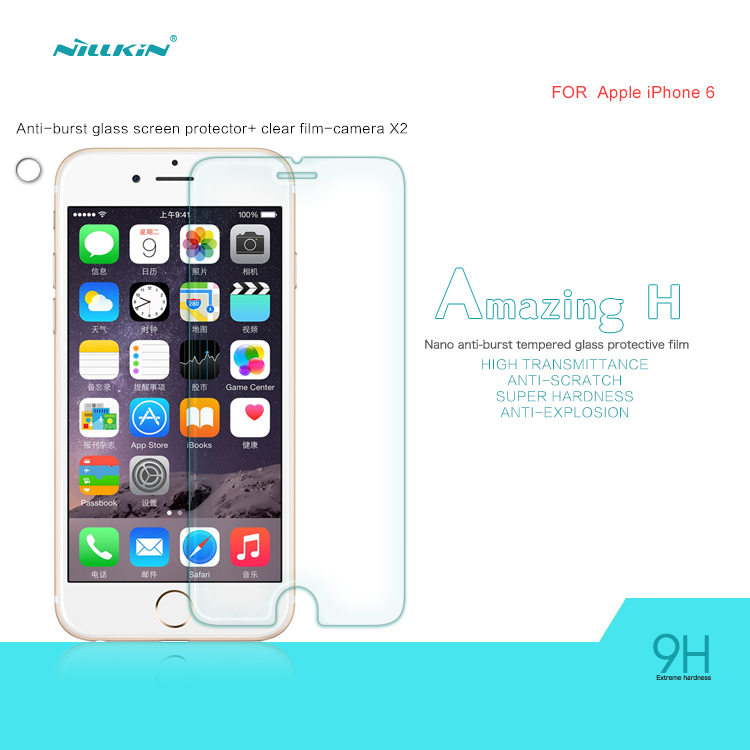 For Apple iPhone 6 Phone Brand NILLKIN Amazing H Nanometer Anti-Explosion Tempered Glass Screen Protector For iphone 6S Case