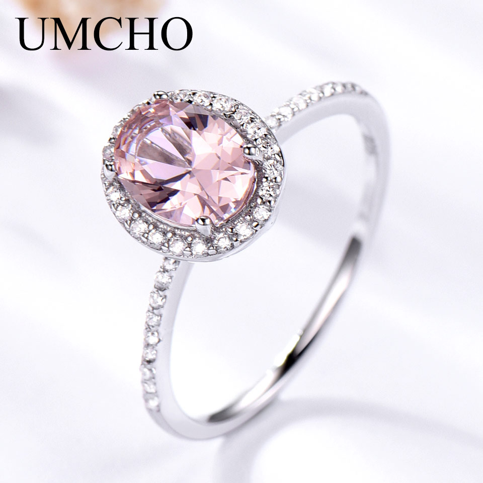 UMCHO 925 Sterling Silver Ring Oval Classic Pink Sapphire Rings For Women Engagement Morganite Wedding Band Fine Jewelr Gift For