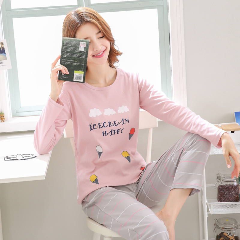 2019 Women Pajamas Sets Autumn Winter New Women Pyjamas Cotton Clothing Long Tops Set Female Pyjamas Sets NightSuit Mother Sleep 119