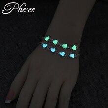 Phesee Luminous Heart Pendant Bracelets For Women Pretty Punk Bracelet Lover Bangles Party Fashion Female Bracelet Jewelry Gift