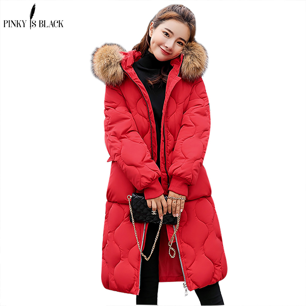 PinkyIsBlack 2018 Winter Jacket Women Long   Parkas   for Coat Fashion Female Down Jacket Hooded Faux Fur Collar Winter Coat Women