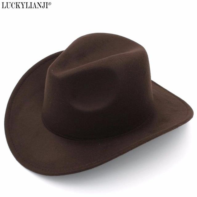 36ab7a63067 LUCKYLIANJI Retro Kids Trilby Wool Felt Fedora Country Boy Cowboy Cowgirl  Hat Western Bull Jazz Sun Chapeau Caps For Children