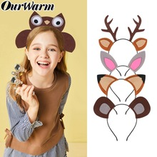 OurWarm Animal Headband Safari Jungle Party Supplies Woodland Birthday Decoration Kids Cosplay Costume Props Hairbands