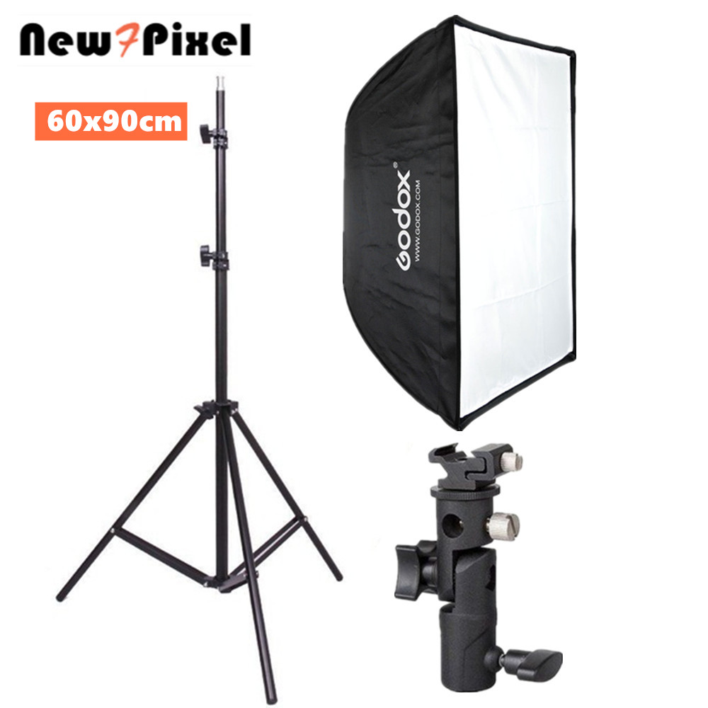 Godox 60x90 cm paraguas softbox accesorios de Fotografía + soporte de zapata caliente + 190 cm kit de soporte de luz para Flash Speedlite