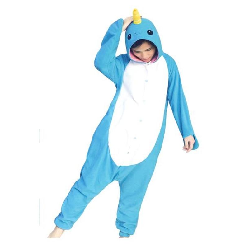 Новый для взрослых животных Footed Нарвал Комбинезоны китообразных пижамы Для женщин жив ...