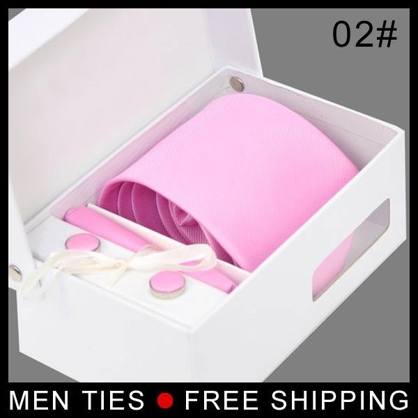 El envío libre Al Por Menor Al Por Mayor Pura Rosa corbata para Los Hombres 3.15 inch Ancha Tejida corbata Set (Tie + Gemelos + Tie clip + Hankie + Caja de Regalo)