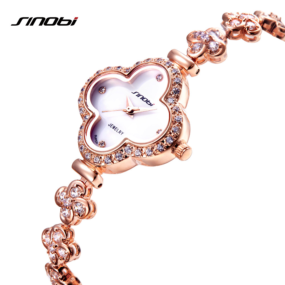 SINOBI Vogue Watches Women Fashion Four Leaf Clover Shape Bracelet Wristwatch To