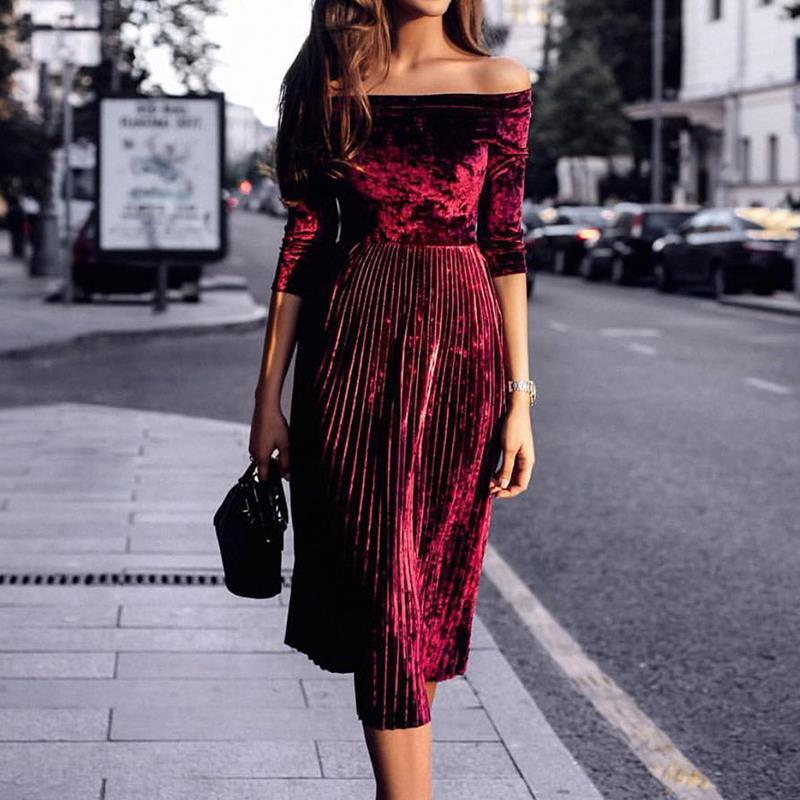 776f58bf1920 Women Purple Off Shoulder Velvet Sexy Dresses Party Night Club Dress Winter Dresses  Swing Elegant Dress Veditos WS4176O-in Dresses from Women s Clothing on ...
