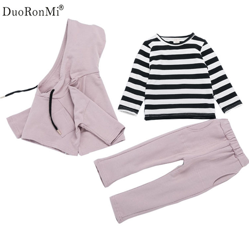 Baby Girls Clothes Set 3pcs Cotton Autumn Shirt+Coat+Pant Hooded Suit Baby Infant Princess Clothing Brand Korean Fashion