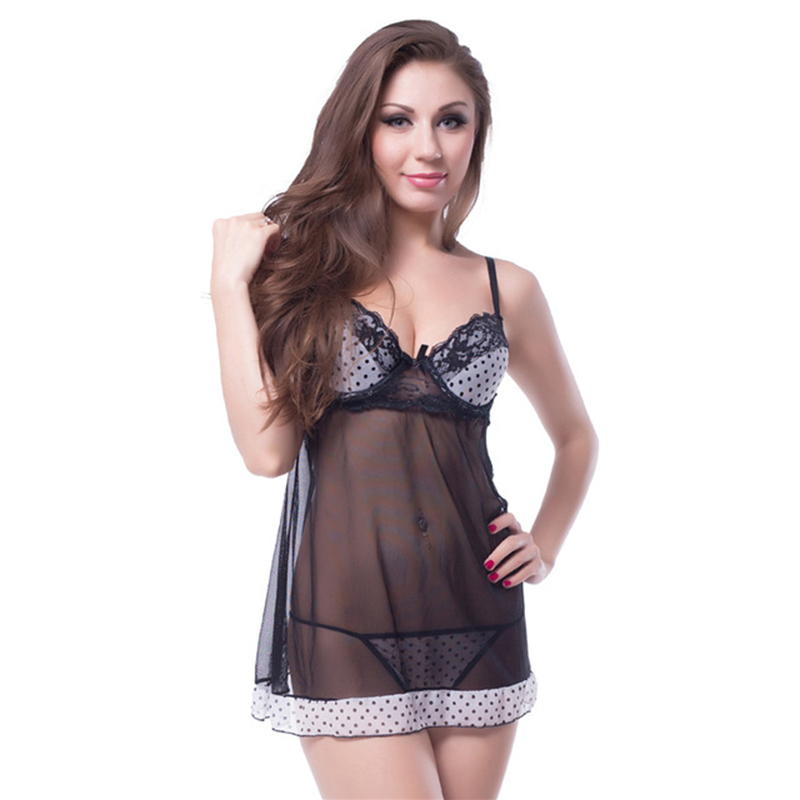 Women Sexy Lingerie Deep V-neck Perspective Gauze Lace Women Sexy Lingerie Hot Sexy Underwear Lovely Female White Lace Erotic