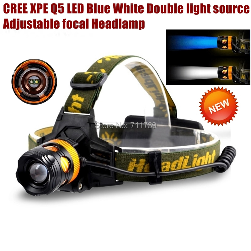 ALONEFIRE HP82 Cree XPE Q5 2 LED Blue white Double light source Camping Headlight Headlamp for 1/2x18650 rechargeable battery