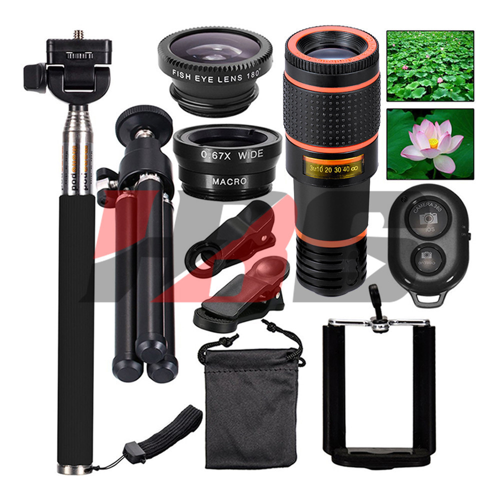 No Dark Corner 12X Zoom Telephoto Lenses 3in1 Fisheye Lens Monopod Bluetooth Shutter Holder Tripod For iPhone 7 8 X SmartphonesNo Dark Corner 12X Zoom Telephoto Lenses 3in1 Fisheye Lens Monopod Bluetooth Shutter Holder Tripod For iPhone 7 8 X Smartphones