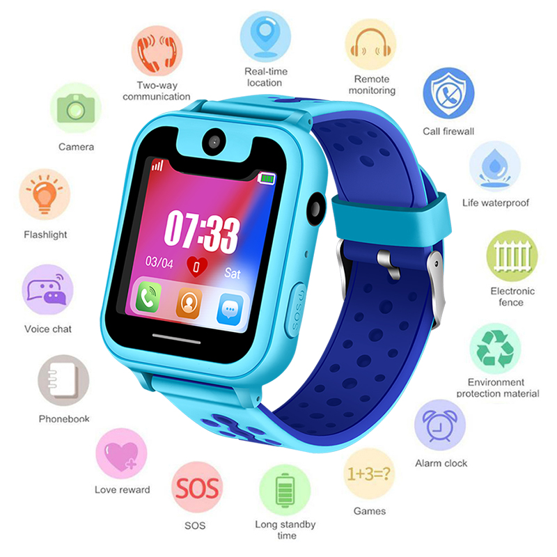 2018 New Bluetooth Waterproof Children Smart Watch Digital Watch Pedometer SOS anti-lost LED Color Touch Screen Support SIM Card