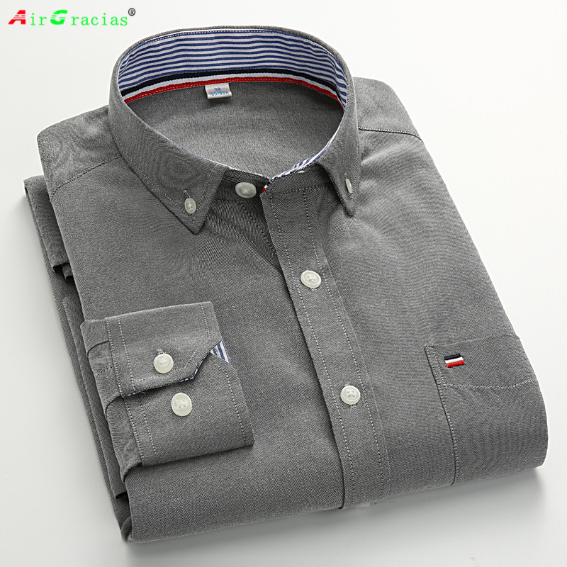 Airgracias plus size cotton brand solid color shirt men for Mens long sleeve casual cotton shirts