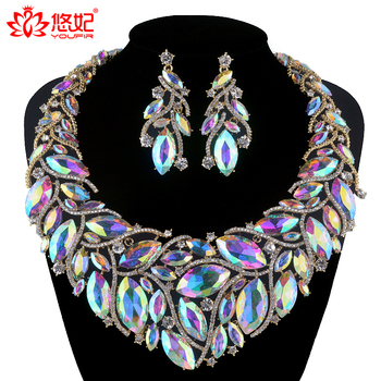 Crystal AB color Bridal Jewelry Set For Brides Necklace Earrings Women Wedding Party Marquise rhinestone jewelry Accessories