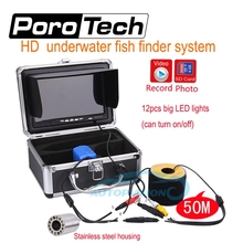 SY701 50m Professional Underwater Fishing camera 7″LCD 12 LED 1000TVL HD camera Video Fish Finder Underwater Camera+8G card free
