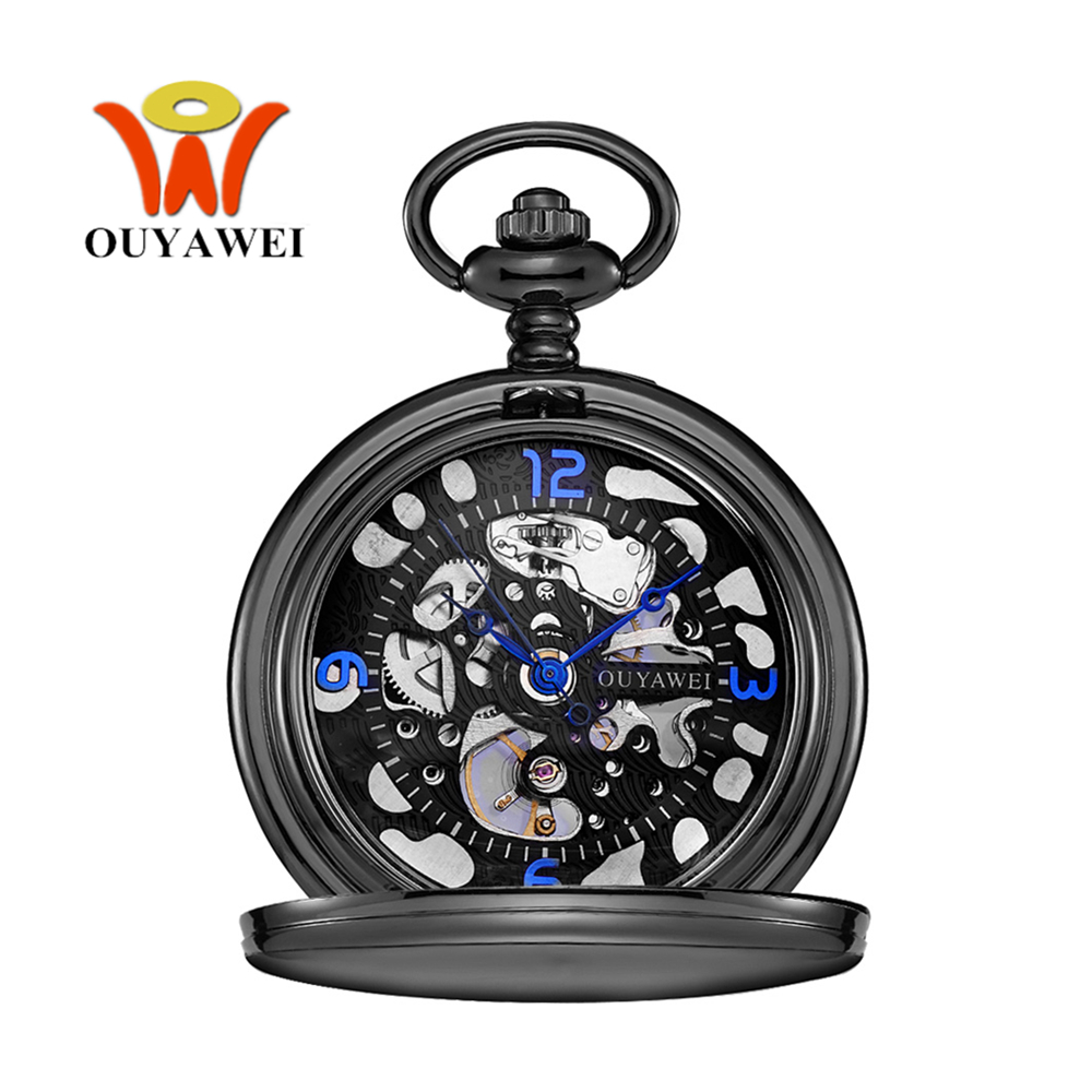 Orologio Uomo OYW Brand Mechanical Hand Wind Pocket Watch Men Retro Vintage Pendant Skeleton Design Watch With Full Steel Chain unique smooth case pocket watch mechanical automatic watches with pendant chain necklace men women gift relogio de bolso