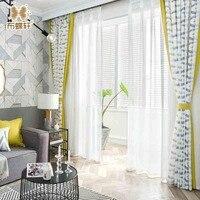 2018 chegada do outono estilo mediterrâneo luxo cortina amarelo twists costura imitação de linho cortinas para sala estar do hotel